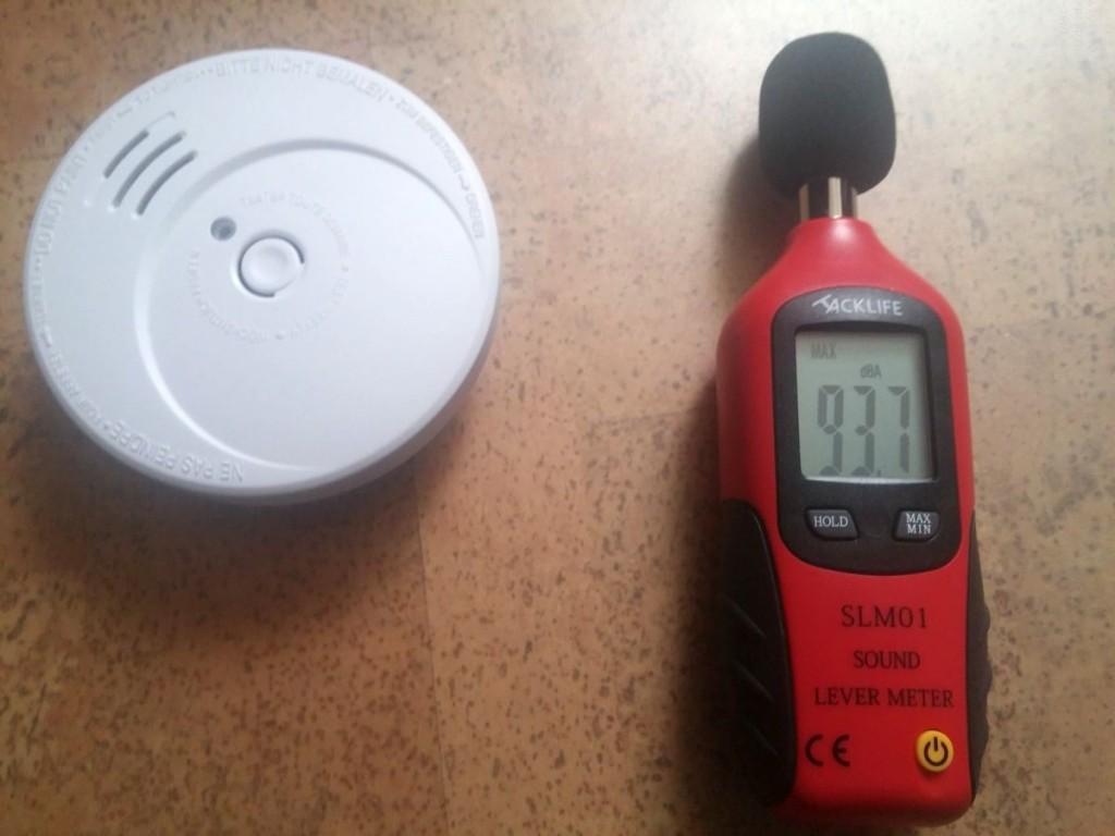 Ergebnis der Messung bei Alarmauslösung durch Testspray in 3 m Entfernung